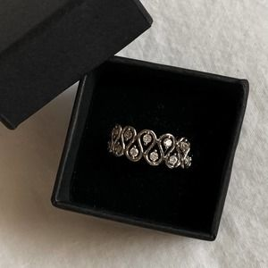 VTG Silver Teardrop Wave CZ Diamond Stack Ring